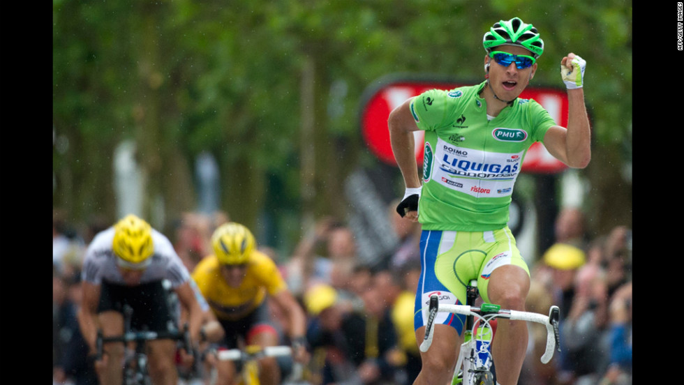 Peter Sagan of Slovakia celebrates while crossing the finish line Tuesday to win Stage 3.