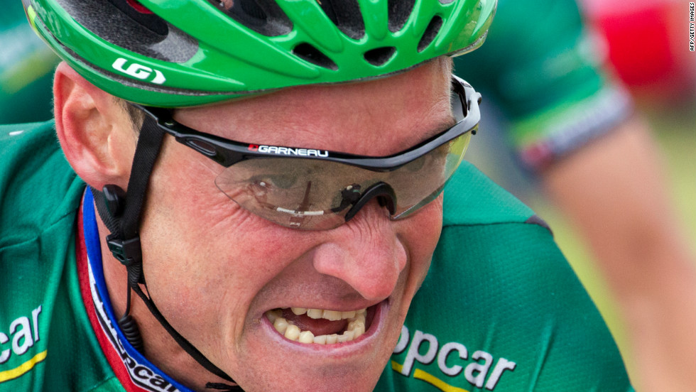 France's Thomas Voeckler grimaces during one of the course's many climbs on Tuesday.