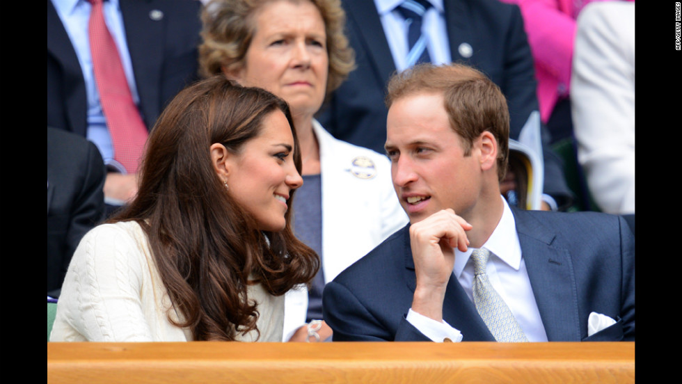 Britain's Prince William, Duke of Cambridge, and his wife, Catherine, sit in the royal box Wednesday.