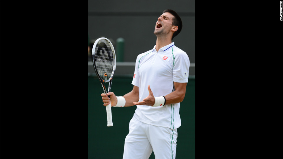 Djokovic reacts during his men's singles quarterfinal match against Germany's Mayer.
