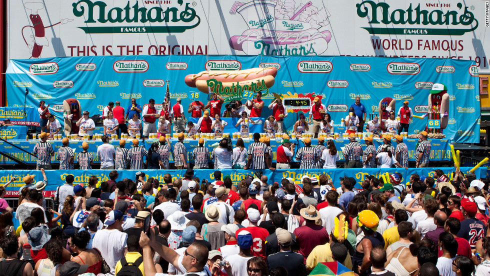 The contest is held each Fourth of July. It started nearly 100 years ago as a sideshow on the famous boardwalk at Coney Island.