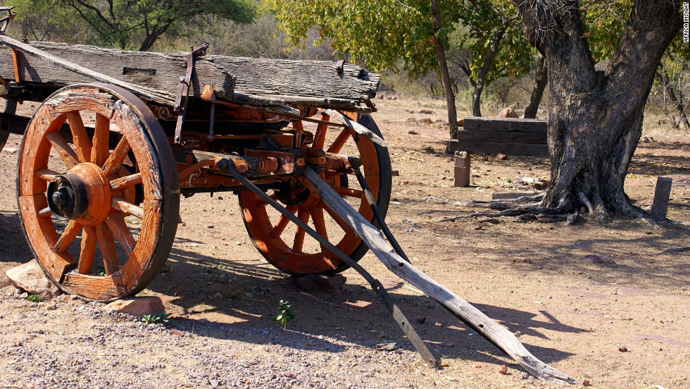 "An ox wagon parked outside the museum in Mochudi, Botswana, the home village of the lead character Precious Ramotswe in ""The No.1 Ladies' Detective Agency"" series."