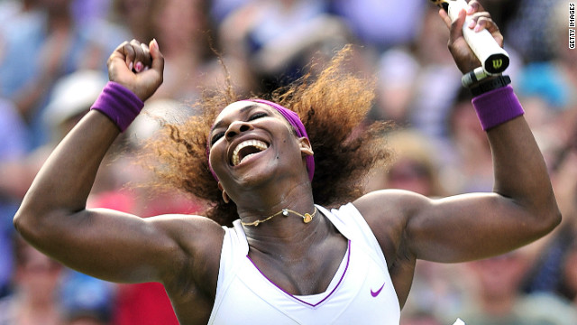 Serena Williams jumps for joy after defeating Victoria Azarenka to make her seventh Wimbledon singles final