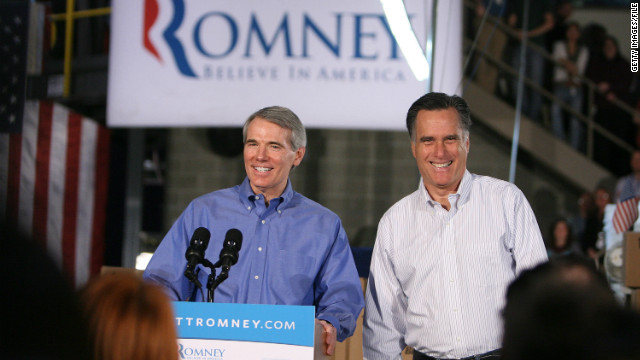 Ohio Sen. Rob Portman campaigns with Mitt Romney in Cincinnati in February.
