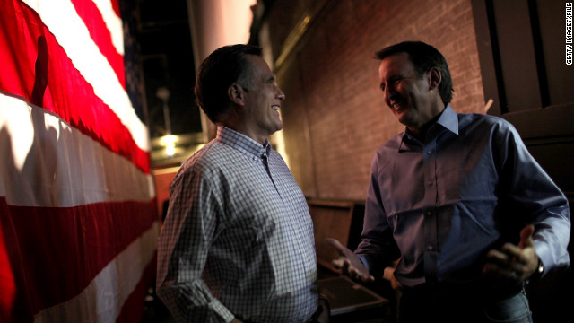 Former Minnesota Gov. Tim Pawlenty, right, campaigns with Mitt Romney in January 2012.