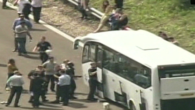 Why did UK police stop a passenger bus?