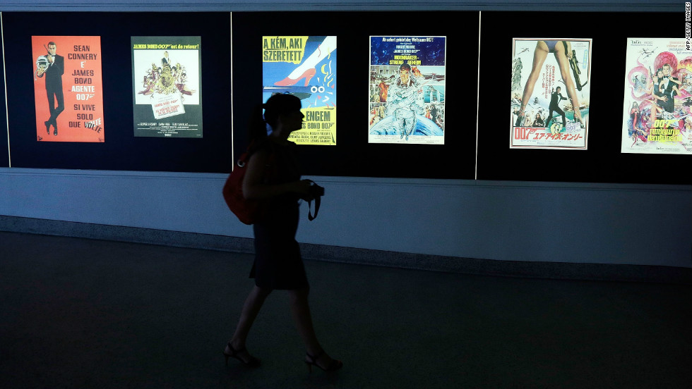 The exhibition, which includes a room full of Bond film posters, allows visitors to walk in 007's footsteps.