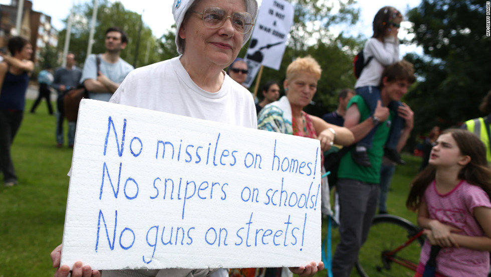 East London residents protest against government plans to station surface-to-air missiles on rooftops.
