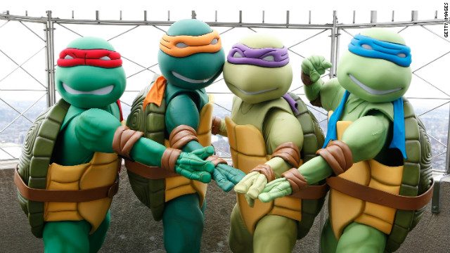 Teenage Mutant Ninja Turtles appear on April 23, 2009 at the Empire State Building to celebrate the characters' 25th Anniversary.