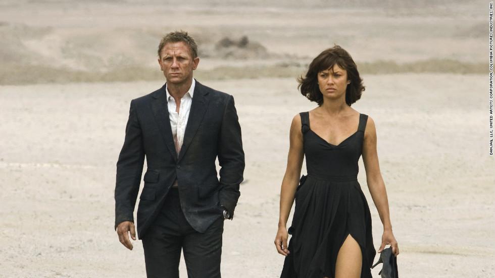 "Camille Montes, played by Olga Kurylenko, with Daniel Craig as Bond in 2008's ""Quantum of Solace."""
