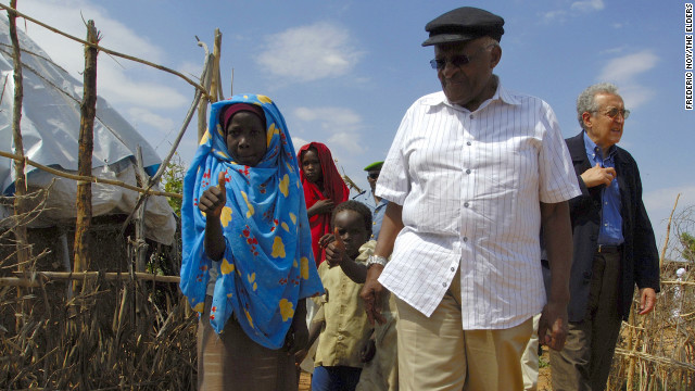 Archbishop Desmond Tutu pictured during a visit by The Elders to Sudan in 2007.
