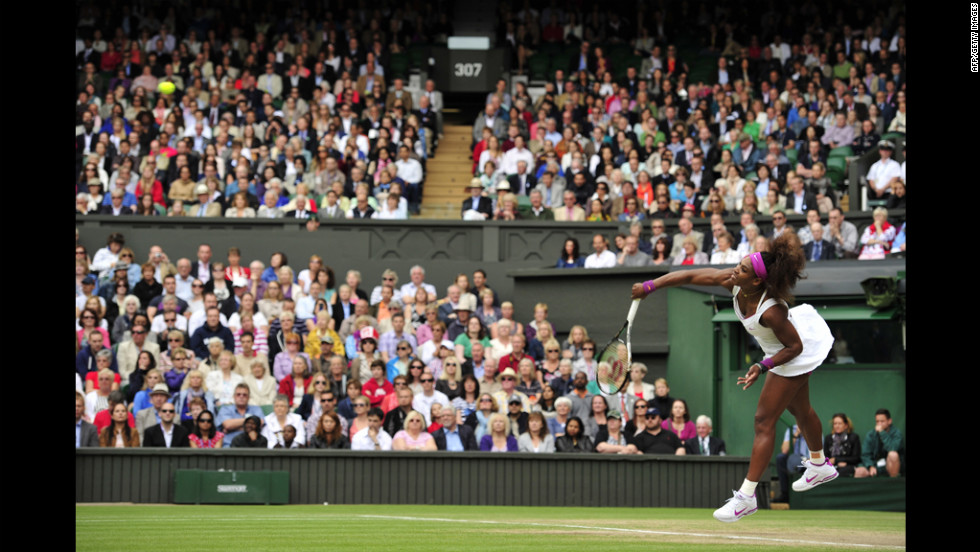 Williams serves during her final match against Radwanska.