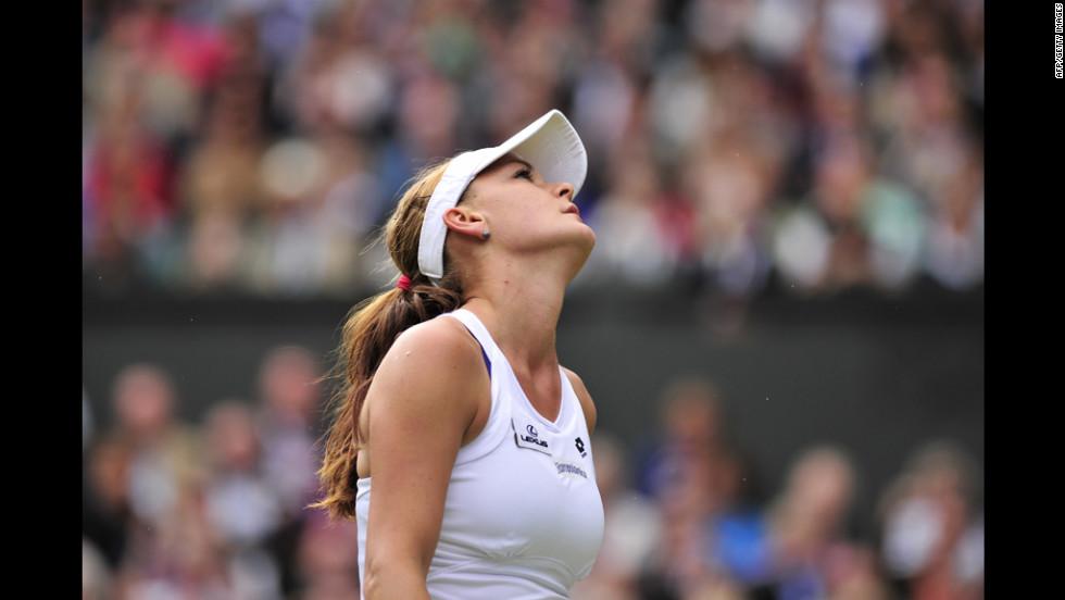 Poland's Agnieszka Radwanska reacts during her finals match against Serena Williams on Saturday.