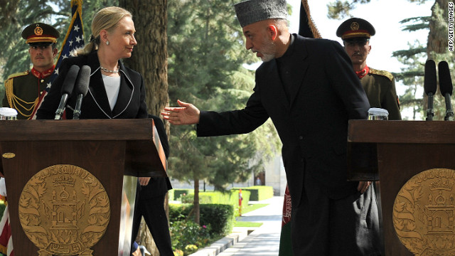 Afghan president Hamid Karzai and U.S. Secretary of State Hillary Clinton at a press conference in Kabul on July 7, 2012.