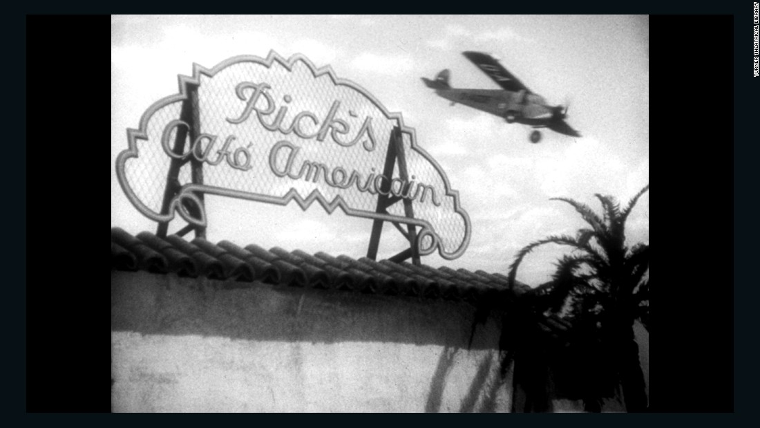 """Casablanca,"" the 1942 film starring Humphrey Bogart and Ingrid Bergman and directed by Michael Curtiz, won three Oscars. In this still from the film, a plane flies over the upscale piano bar Rick's Cafe Americain."