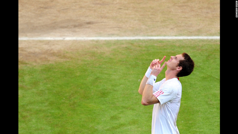 Britain's Andy Murray celebrates his victory over Jo-Wilfried Tsonga of France in the men's singles final.