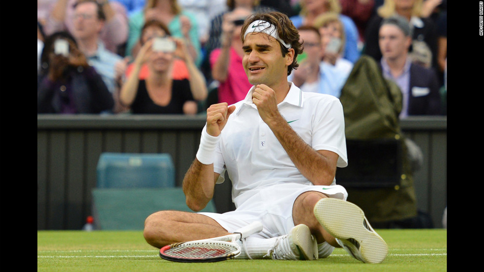 "Roger Federer of Switzerland celebrates after defeating Andy Murray of Great Britain to win his 7th Wimbledon championship in London on Sunday, July 8. Visit <a href=""http://www.CNN.com/tennis"" target=""_blank"">CNN.com/tennis</a> for complete coverage."