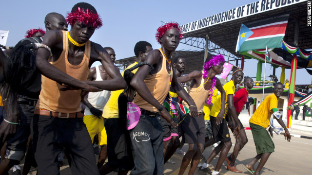 South Sudanese performers parade during a ceremony of the country's first independence day on Monday in Juba, South Sudan.