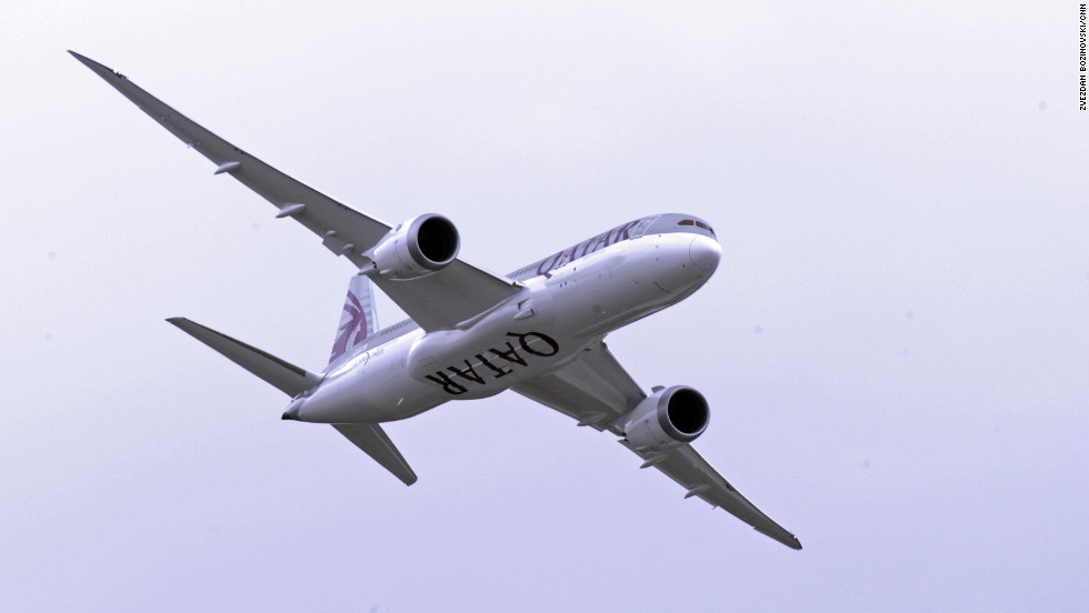 Boeing returns to the Farnborough Airshow after a 28-year aerial absence as it presents the 787 Dreamliner in Qatar colors.