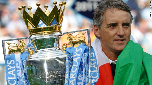 Roberto Mancini led Manchester City to their first English league title for 44 years last season