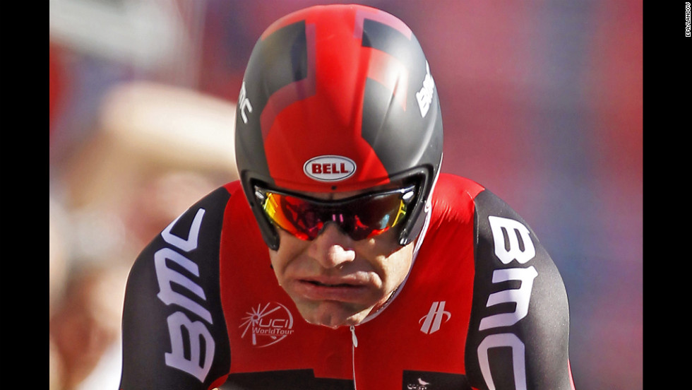 Australian rider Cadel Evans of the BMC Racing team rides the Stage 9 time trial.