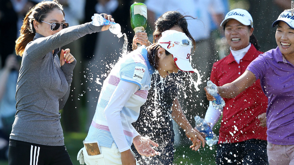 The South Korean was sprayed with champagne after her four-stroke win at Blackwolf Run.