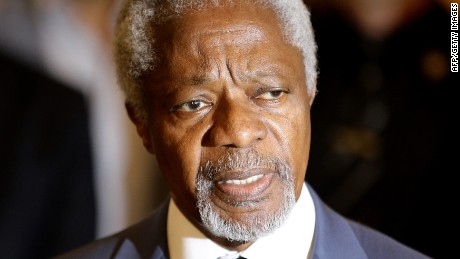 UN-Arab League envoy Kofi Annan holds a press conference in the Syrian capital Damascus on July 9, 2012.