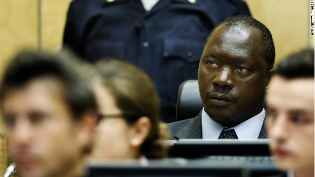 Congolese warlord Thomas Lubanga hears the first-ever sentence delivered by the ICC in the Hague, on July 10, 2012.