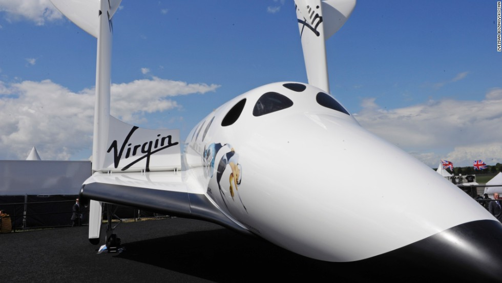 Virgin Galactic's SpaceShipTwo is featured in a static display at Farnborough this week. The aircraft is making its European debut with a few modifications.