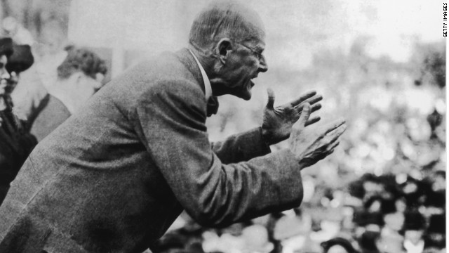 Eugene Debs addresses a crowd of people, circa 1910. (Photo by Fotosearch/Getty Images).