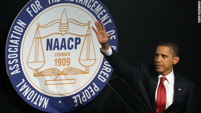 President Obama speaks at the 100th NAACP convention in New York in 2009.
