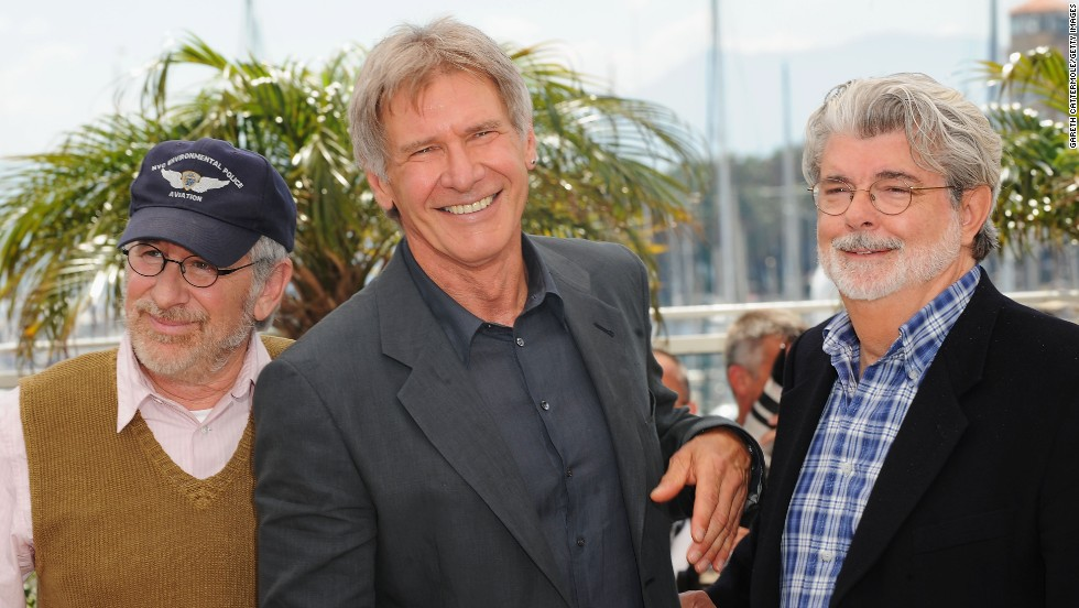 """From left, director Steven Spielberg, Ford and """"Star Wars"""" creator George Lucas attend a screening of """"Indiana Jones and the Kingdom of the Crystal Skull"""" at the Cannes Film Festival in 2008."""