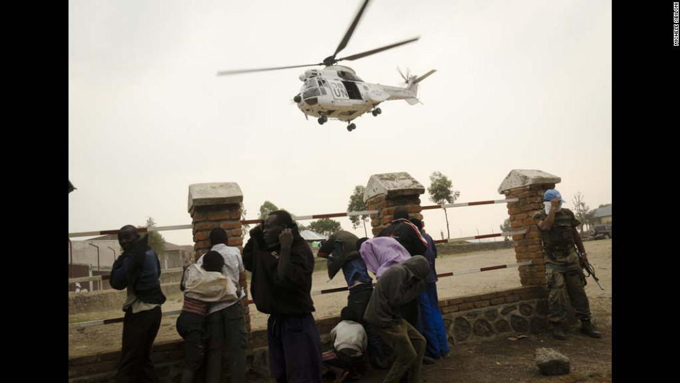 A UN helicopter pulls out of the town of Bunagana on July 7. Bunagana was claimed by renegade soldiers of the Democratic Republic of Congo on July 6, after fighting regular Congolese armed forces, police and the mutineers said.