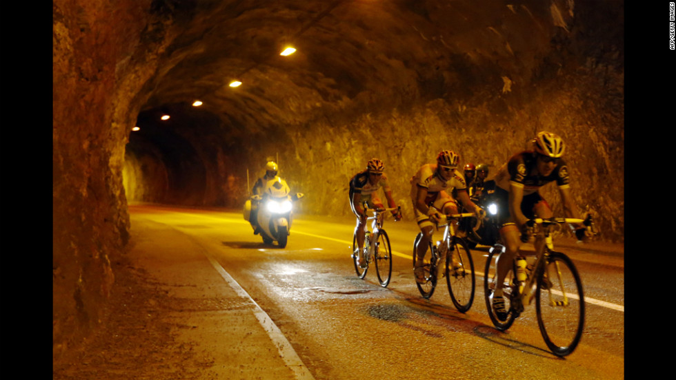 The leading men ride in a tunnel in a breakaway on Friday.