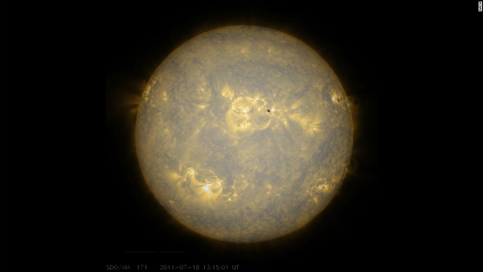 Sunspots, which are cooler, darker areas of intense magnetic activity, are most often the source of solar storms. If we take the observations of the sun's lower atmosphere in extreme ultraviolet light July 17-18, 2011.