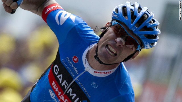 David Millar shows his delight after winning the 12th stage of the 2012 Tour de France.