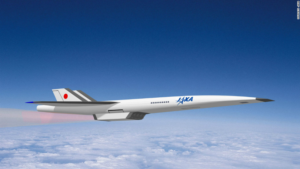 An alternate rendering of a proposed supersonic passenger jet by the Japan Aerospace Exploration Agency (JAXA). The agency says it expects to achieve a quiet, economical and environmentally friendly supersonic aircraft some time this century.