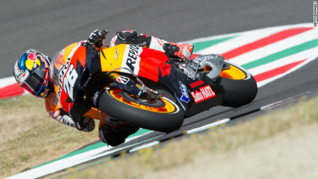 Dani Pedrosa qualified fastest on his Repsol Honda for the Italian MotoGP at Mugello.