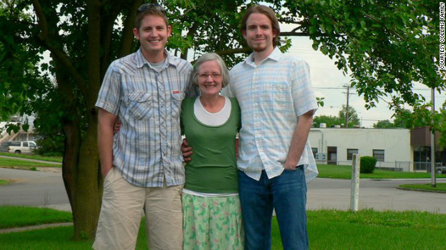 Aaron Collins, left, with his mother, Tina, and brother, Seth, in this undated family photo.