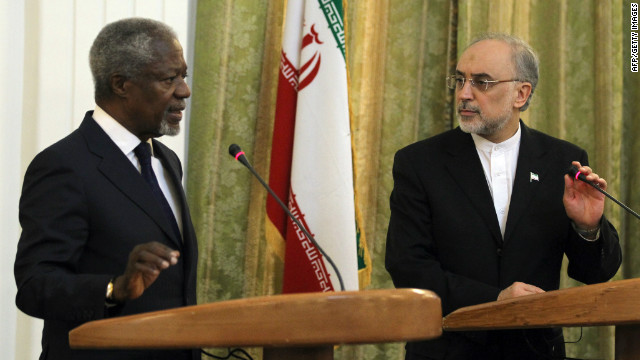 International envoy Kofi Annan (left) pictured with Iranian Minister for Foreign Affairs Ali Akbar Salehi in Tehran on July 10.