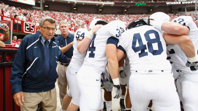 Coach Joe Paterno of the Penn State Nittany Lions walks out onto the field before a game on September 11, 2010.