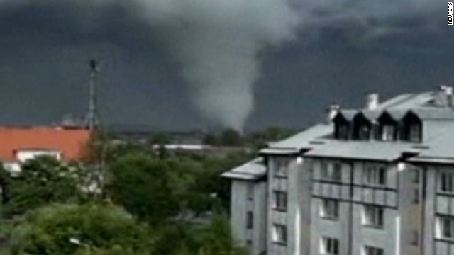 Rare tornado hits Poland
