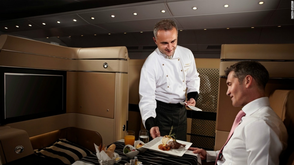 It's hard to beat Etihad Airways when it comes to first class catering. The airline offers a chef to serve up in-flight meals to passengers.