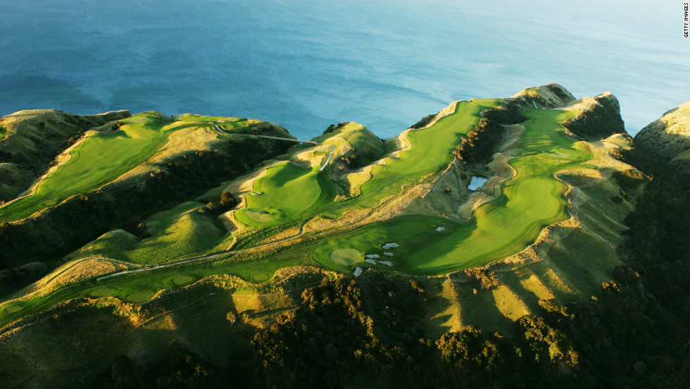 Noted for its secluded cliff-top location in New Zealand's Hawke's Bay, Cape Kidnappers is a 20-minute drive from the gate on the nearest public road. Deep gullies dip down to the sea between fairways, which give spectacular panoramic views along the shore and across the nearby wine country. Only eight years old, it is one of the newest courses to consistently feature near the top of world rankings.