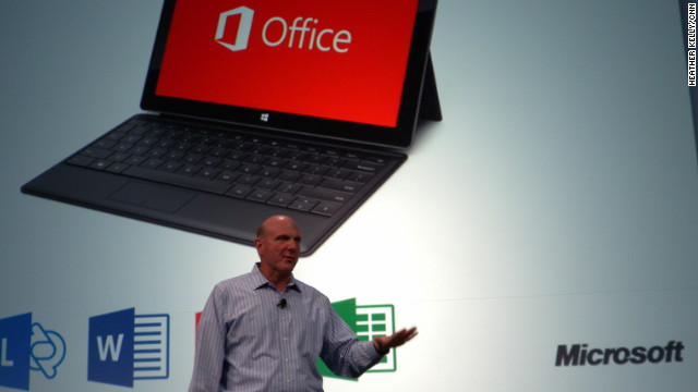 Microsoft CEO Steve Ballmer speaks at a 2012 event rolling out a new version of the company's Office software.