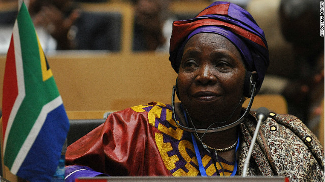 South African Home Affairs Minister Nkosazana Dlamini-Zuma attends the African Union summit on July 15, 2012 in Addis Ababa.