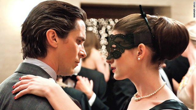 "Christian Bale and Anne Hathaway star in ""The Dark Knight Rises."""
