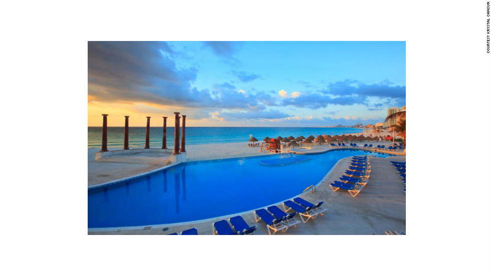 "Krystal Cancun is in the heart of the Hotel Zone on Punta Cancun. <a href=""http://www.budgettravel.com/slideshow/photos-best-budget-beachfront-all-inclusives,8613/ "" target=""_blank"">See more photos of the resorts at BudgetTravel.com</a>"