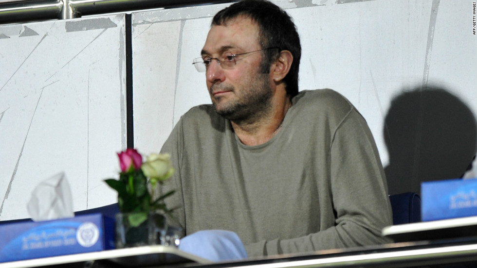 Kerimov, on January 16, 2012, watching his Dagestani team,  Anzhi Makhachkala, play against Iraq at Al Nasr Stadium in Dubai.