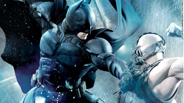 "Christian Bale stars as Bruce Wayne/Batman and Tom Hardy stars as Bane in ""The Dark Knight Rises."""